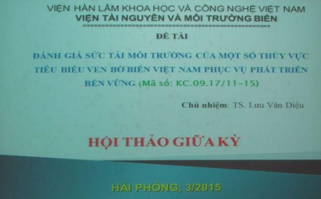 Đánh giá sức tải môi trường các thuỷ vực ven biển Việt Nam